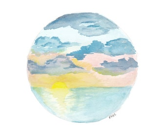 Sunset Landscape -Print A4, over water with clouds, Watercolour Art, Circle Sunset Art