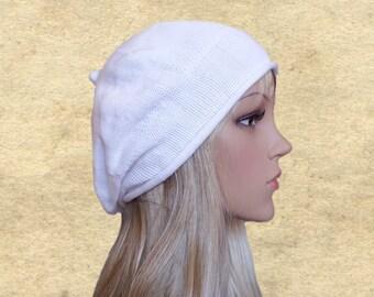 Boho knit beret hat, Slouchy beanie hats, Knit slouch beret, White slouchy beret, Womens knit beret, Knitted beret lady, Bohemian beret hat