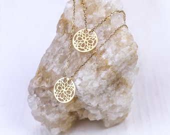 Symphonie necklace 925 silver plated with floral pendant