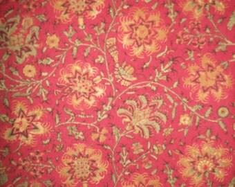 Vintage Ralph Lauren Russet Floral/Leafy Jacobean Style Fabric ( 3 plus yards)