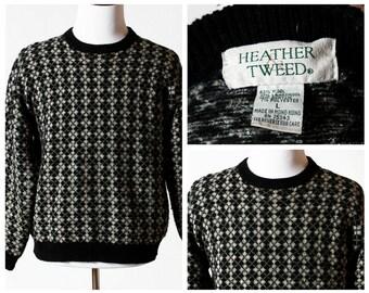 Vintage Women's Sweater - Wool 80s 90s Heather Tweed Retro Large Long Sleeve