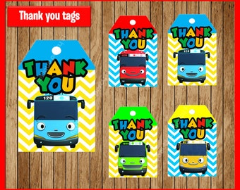 Tayo the Little Bus thank you tags instant download, Printable Tayo the Little Bus party tags, Tayo the Little Bus thank you tags