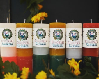 """Double Action Pillar Candles, 2"""" x 6"""", Custom Color Selection, Essential Oil Candles"""