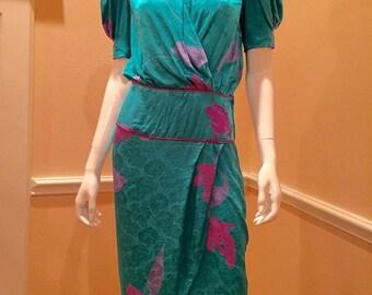 vintage Flora Kung silk teal dress small medium