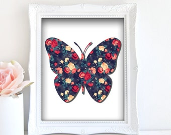Butterfly Art Print - Instant Download / Butterfly floral art, Butterfly wall art, butterfly artwork, digital butterfly art