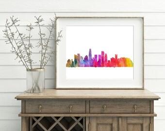 Los Angeles Watercolor Art Print - Hollywood Art Print, LA city skyline art, Hollywood watercolor painting, Los Angeles painting