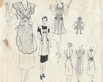"1940s Vintage Sewing Pattern B36"" APRON (R159)  Butterick 8186"