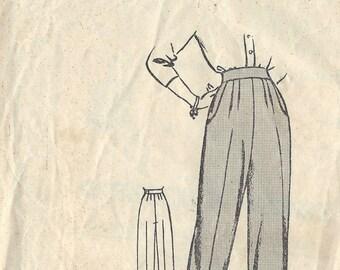 """1940s WW2 Vintage Sewing Pattern W28"""" H38"""" WOMENS PANTS TROUSERS (1337) Weigel's 1532"""