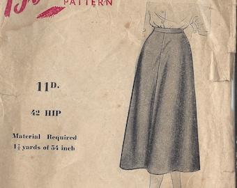 1940s Vintage Sewing Pattern SKIRT WAIST - 32 Hip:42  (R608) Blackmore 7528