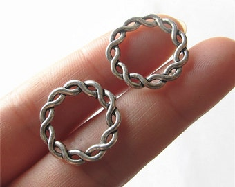 Bulk 20 Twined Circle Charm Pendant Antique Brass / Silver Drop Handmade Jewelry Finding 21mm