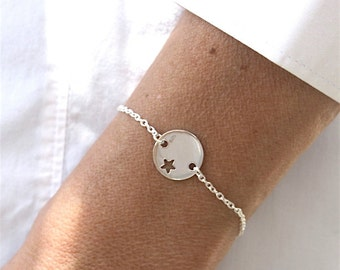 Bracelet perforated plate star on chain Silver 925