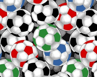Soccer Balls Anti-Pill Fleece Fabric by the yard/sports fleece fabric /David Textiles/Free shipping available