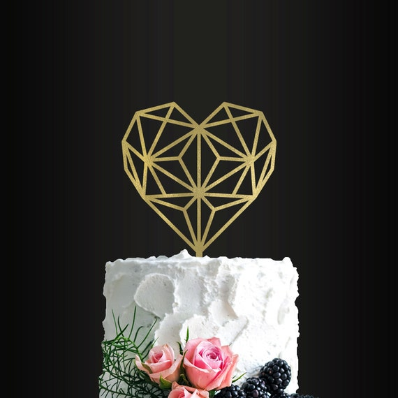 wedding cake toppers hearts wedding cake topper geometric cake topper wedding 26489