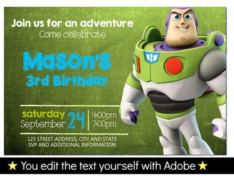 Buzz Lightyear Birthday Invitation, Editable Text, Instant Download