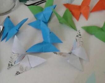 Set of origami butterflies
