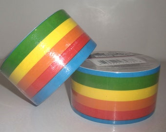 Rainbow Duct Tape 2 Rolls 15 Ft each DIY Art Project Supplies Paper Crafts Scrapbooking New