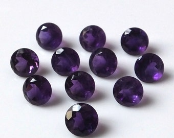 7mm Amethyst Faceted Round loose gemstone Top quality natural Amethyst round faceted gemstone wholesale lot Faceted Amethyst