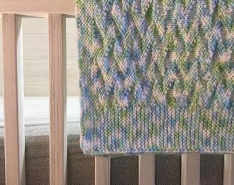 Green Varigated Knit Baby Blanket