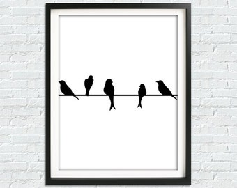Black Bird Row, Birds Print, Minimalist Print, Printable Poster, Instant Download Print, Black And White Print, Birds Poster, Home Decor