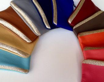 Gold lame lambskin leather clutch