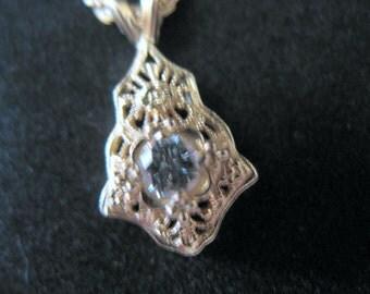 Vintage 14K Gold and Diamond Filigree Pendant