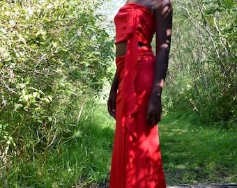 Bohemian Gypsy Goddess One of a Kind Maxi Two-Piece Skirt + Dress ~ Crimson Flame Goddess Maxi Dress