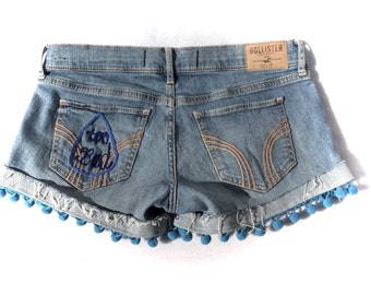 "The ""Too Bad"" Hand Embroidered Denim Shorts"