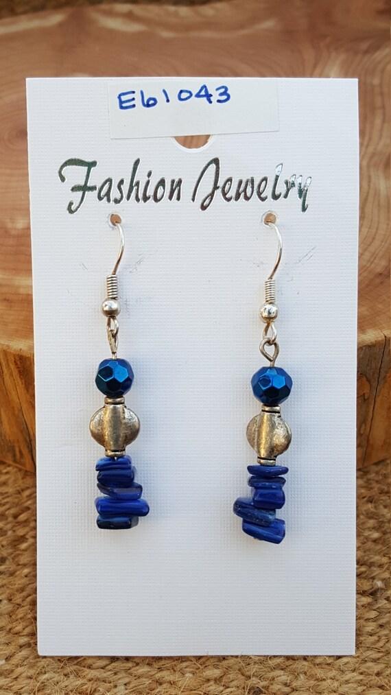 Navy and Silver Earrings / Navy Blue Earrings / Seashell Earrings / Dangle Earrings / Hippie Earrings / Boho Jewelry /E61043