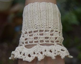 Ecru Crochet Bracelet Cuff, Beaded Cuff Bracelet, Romantic Boho Wedding, Crochet Jewelry, Crochet cuff, Rustic Wedding Jewelry