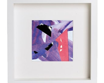 Abstract minimalism miniature wall art. Modern minimalist collage. Pink - Violet
