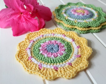 Crochet- Spring Coasters (Set of Four)