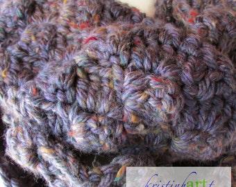 Blue Super Scarf / Handmade Crochet / Acrylic / Rayon / Long / Women's Gift Idea / Thick / Heavy / Bulky