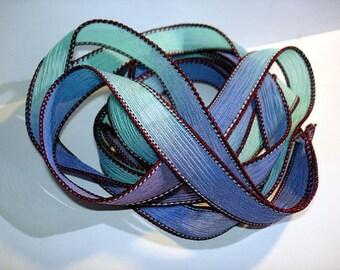 """1PC. BURGUNDY MINT 42"""" hand dyed wrist wrap bracelet silk ribbon//Yoga wrist wrap bracelet ribbons//Hand dyed Boho Silk wrist wrap ribbon"""