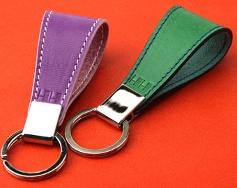 Personalized CustomHand /Hand Stamped/Violet Green Leather Key holder/Double-sided leather key chains/Unique Key ring/Limited edition