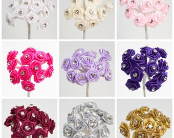 Bunch of 12 15mm Diamante Ribbon Rose Flower Spray Favour Craft Decoration