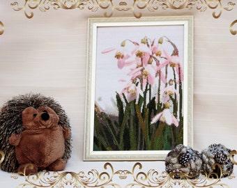 """Embroided picture """"Pink Snowdrops"""" (Вышитая картина """"Розовые подснежники"""")"""