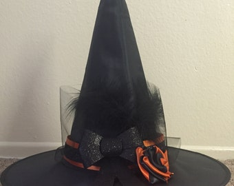 Orange and black magic witch hat ~ Halloween costume