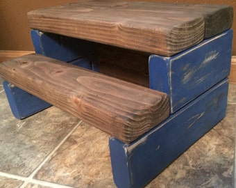Rustic Kid's Wooden Step Stool - Handmade, Shabby Chic, Multiple Colors Available