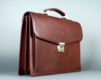 handmade leather brown briefcase