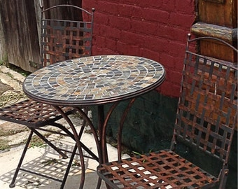 16x20 Still Life of Wrought Iron Table and Chairs