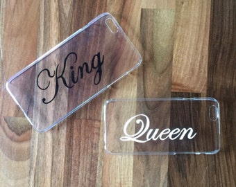 Hard transparent matching couples iPhone and Samsung Galaxy cover cases with king and queen writing