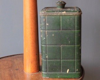 Vintage Green Painted Storage Cannister