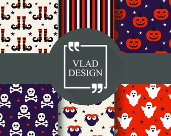 6 Design Halloween patterns Halloween boots patterns Pumpkin pattern Ghost pattern Skull pattern Owl pattern Digital paper pack