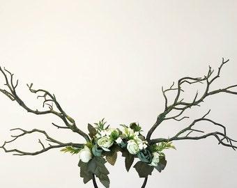 Black Branch Horn Demon Nymph Horn Headdress Antlers green flowers