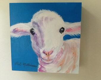 "Sheep Painting.  Original art, Farm animal Lamb On 6"" x 6"" cradled board."