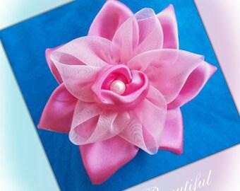Pink Satin Fabric Flower