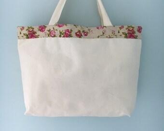 Floral Trim Canvas Shopping Tote Bag