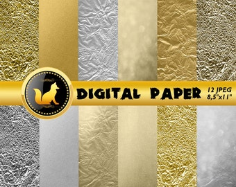 Crumpled Gold Silver Digital Paper,Gold Scrapbook Paper,Gold Background,Gold Backdrop,digital paper,silver Background,scrapbooking paper