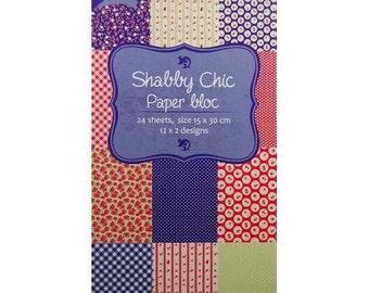 Block of 24 paper 15 x 30 cm Joy SHABBY CHIC Crafts