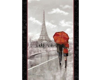 Quilting Treasures COUPLE IN PARIS Eiffel Tower Digital Printed Cotton Fabric Panel